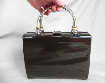 1950's Brown Patent Leather Box Purse Handbag with Silver and Brass Handle