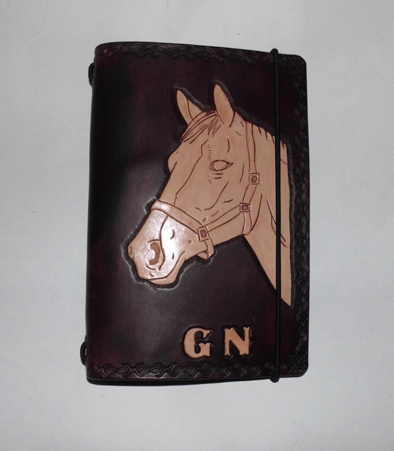 Personalized leather journal carved image by bjcleather