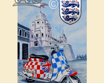 Wembley Wheels, painting of  lambretta scooter outside the old Wembley stadium.