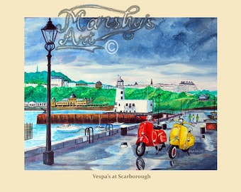 scooter art print from a painting of vespa scooters.near Scarborough lighthouse.