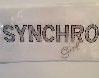 Synchro Girl Iron On/Ice Skating Hot Fix Transfer/Sports Rhinestone Iron On for Shirt/Tank/Tote Bag/Messenger Bag