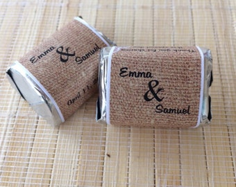 300 Candy Bar Wrappers, Wedding Favors Burlap, Burlap Wedding Gift, Burlap Wrapper, Burlap Favors, rustic wedding favors, lace favors