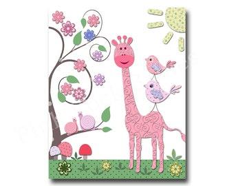 Pink giraffe nursery decor baby girl room decor kids room decor children room decor pink nursery art birds kids artwork children room art