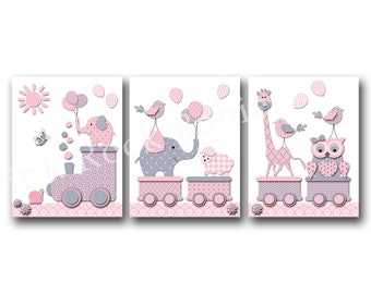 Nursery poster baby girl room artwork pink gray elephant kids room decoration nursery print set children room decor nursery wall decor