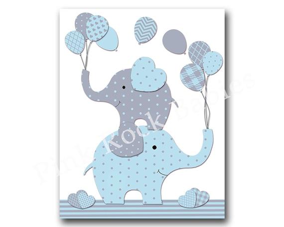 Blue Elephant Nursery Wall Art Baby Boy Nursery By Pinkrockbabies