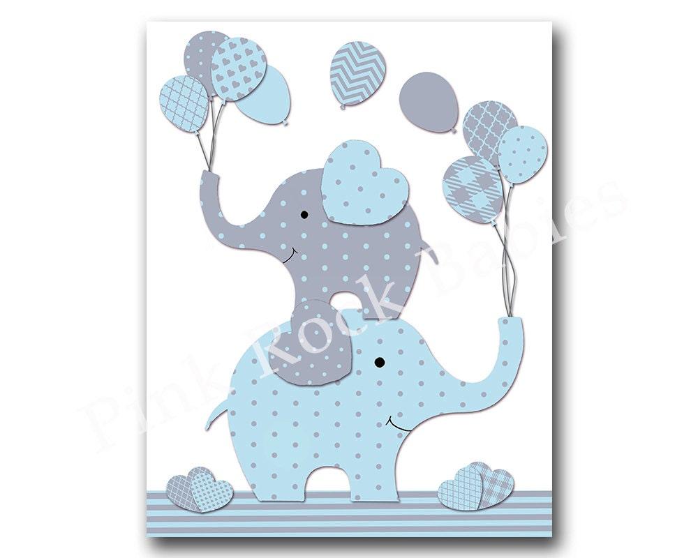 Blue elephant nursery wall art baby boy nursery by pinkrockbabies - Wall decor for baby boy ...