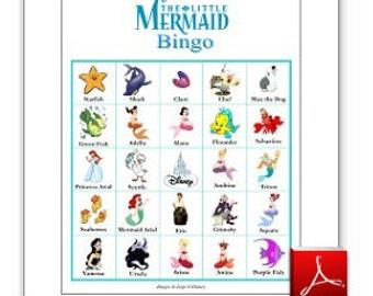 20 Printable Little Mermaid Bingo Cards