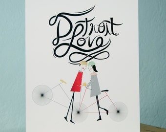 Detroit Love Cycle Giclee Art Print