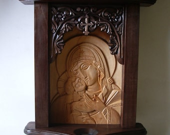 Woodcarving, Wood Art, Home Decor, Orthodox Icon, Hand Carved Iconostasis, Wall Hanging, Woodworking, Woodcraft 18″ x 11″ - MADE TO ORDER