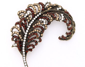 Feather Brooch, Brown Feather Broach, DIY Project Craft Jewelry Embellishment