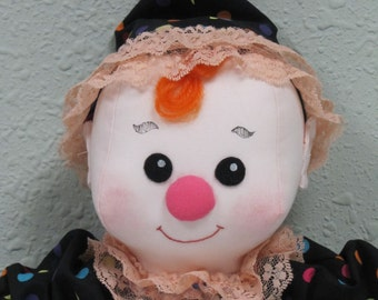 "Cloth Clown Doll, fabric boy doll, cute boy toy for toddler,soft rag doll, 15"" polka dots"