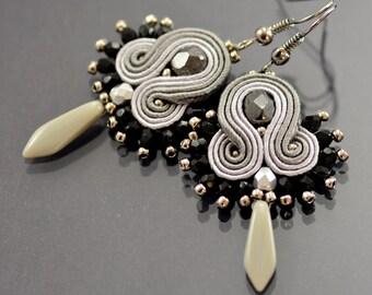 Graphite Gray Soutache Earrings Gray Todak, Dangle Earrings, Soutache Jewelry, Dangle & Drop Soutache Earrings, Soutache Braid, Elegant OOAK