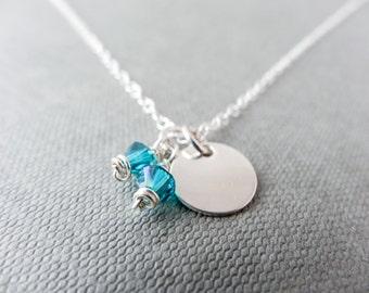 March birthstone necklace, Sterling Silver necklace, charm necklace, Swarovski crystal necklace, Aquamarine necklace, blue necklace