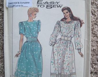 UNCUT Misses Dress - Size 10, 12, 14 - Simplicity Pattern 9013 - Vintage 1989