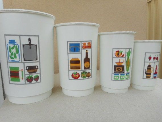reserved please do not order funky kitchen canister set 50s pastel 3 pc funky canister jar set with glass windows