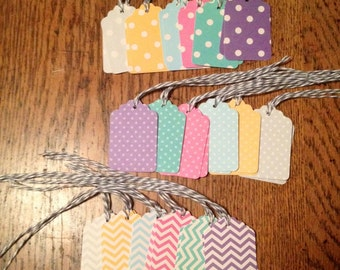 Gift tags, paper gift tags with bakers twine, paper favor tags, wedding favor tags, gift labels