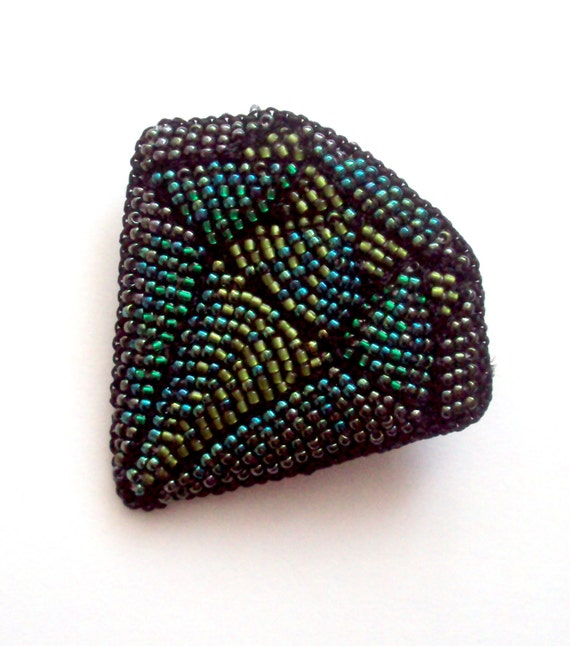 Items similar to bead embroidery brooch green emerald