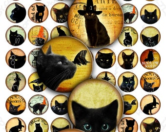 BLACK CATS Digital Collage Sheet 1 inch size circle images for pendants bottlecaps bezel settings paper craft download printable - tn191