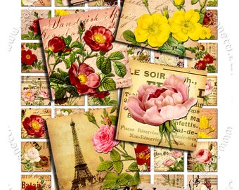 Digital printable ROSES 1 inch square vintage paper goods flower for jewellery pendant clipart instant download collage - qu197