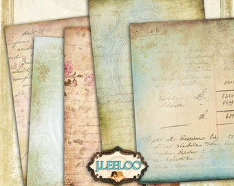 DECORATIVE 9 postcard background 5x7 inch - texture diary scrapbook paper good - Digital collage sheets - instant download printable - pp286