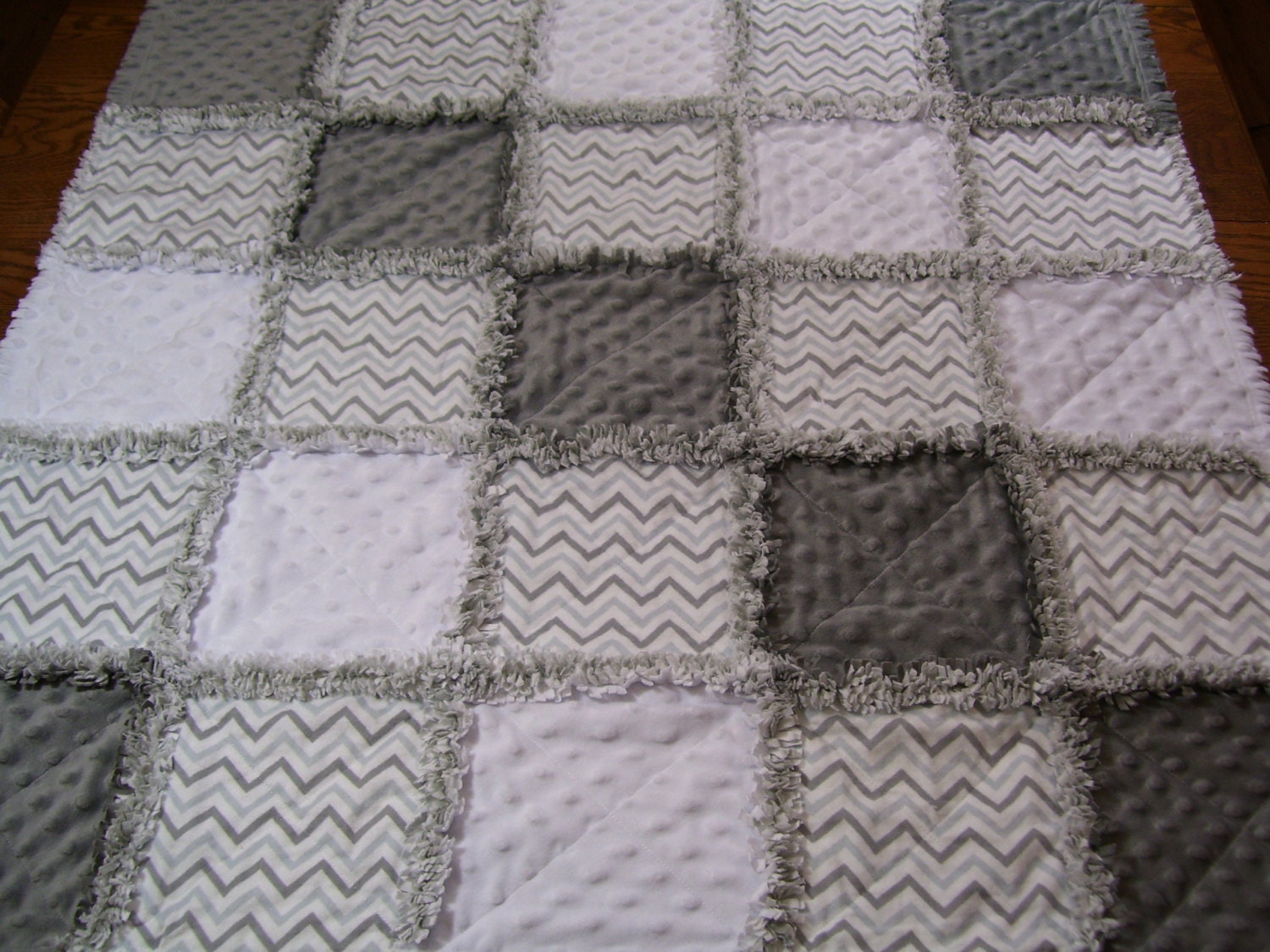 Gray White Quilt : Baby rag quilt gray and white