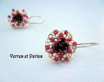 Burgundy and Silver Flower Earrings