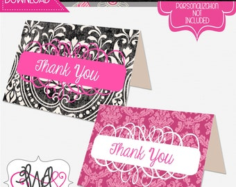 INSTANT DOWNLOAD: Black and Hot Pink Damask Thank You Note
