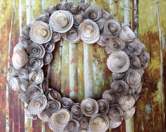 Book Page Flower Rosette Wreath