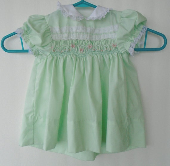 Vintage smocked baby dress polly flinders embroidered baby
