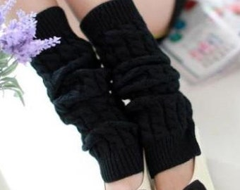 Slouchy Leg Warmers - Stretchy - Knitted - BLACK - Leg Warmers - Knee High