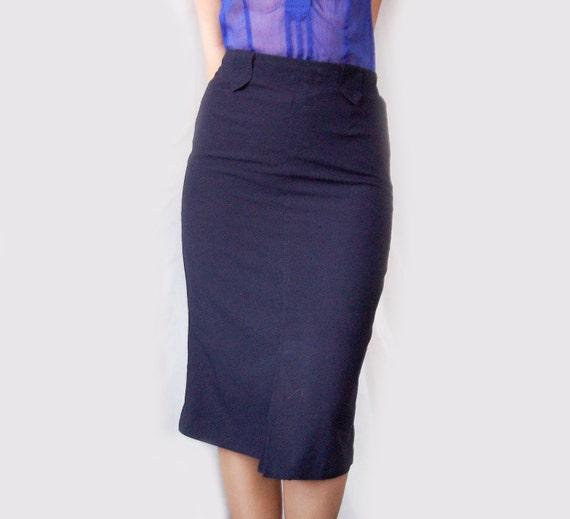 vintage navy midi pencil skirt vintage skirt vintage by