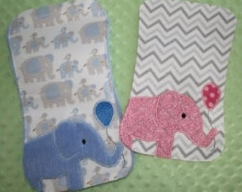 Elephant Burp pad Embroidery Machine Design for the 7x12, 8x12 and 8x14 hoop size