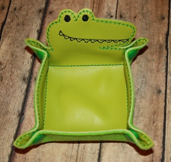 Items similar to alligator vinyl snap trays embroidery