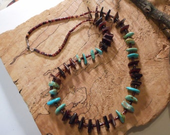 25 inch Navajo Dark Brown Pin Shell and Turquoise Necklace