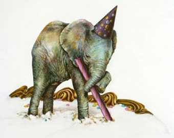 Birthday Card, Elephant, Original Art Blank Card, Child's Card, One Year Old Card, Party Card, Layer Cake
