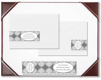 Envelope wraps charcoal lace wraparound address labels personalised labels invitations wedding engagement bridal shower baby shower