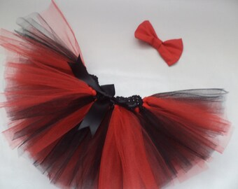 Baby Girl Red And Black Punk Princess 2 Piece Tutu Skirt + Hair Bow Photo Prop