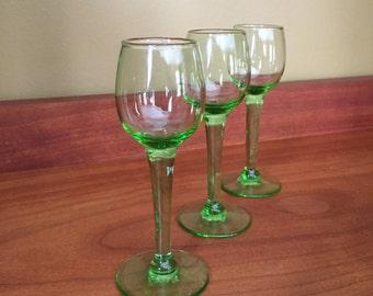 Green apertif glasses