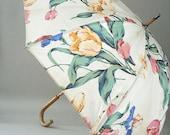 Floral Chintz Oil Cloth Rain Umbrella Parasol