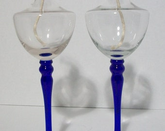 Pair Vintage Clear and Cobalt Blue Glass Oil Burning Candle Lamps Mid Century Modern Look