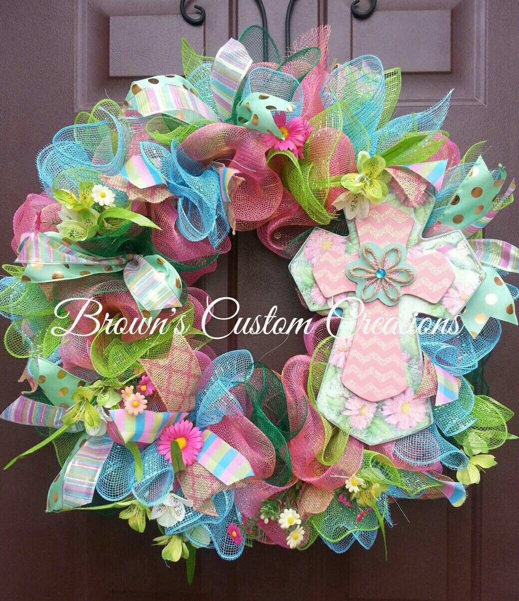 baby shower cross wreath