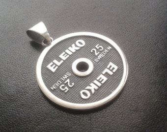 Weight plate ELEIKO silver pendant | Weightlifting powerlifting strength workout gym wod