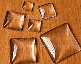 10 Pcs Square Glass Cabochon, 15mm Transparent Cabochon, Cameo Covers, Cabochon, Glass Cabochon