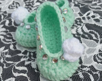 Baby girl crochet shoes handmade ballerina slippers mary jane shoes elegant baby girl baby gift photo prop