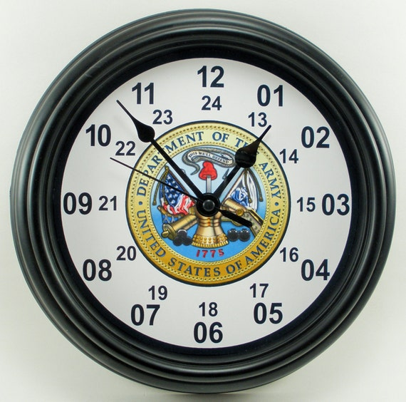 Custom Military Time Armed Forces Wall Clock