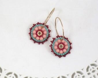 Turquoise & coral earrings, Beaded hoop earrings, Teen girl gifts, Sweet 16 jewelry, Everyday earrings, Peach earrings, Colorful earrings