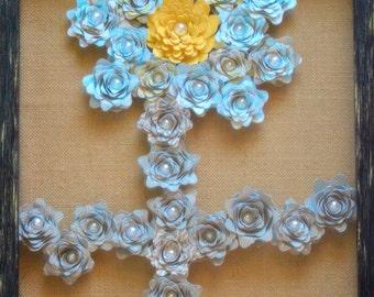 Handmade Paper Flower Shadow Box - shaped in a flower Art