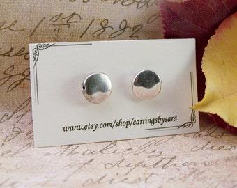 Flat Silver Stud Earring