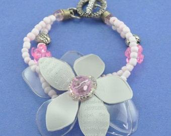 Grey&Pink bracelet, Upcycled bracelet