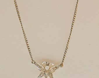 """14K  White Gold Diamond-Encrusted Butterfly held by a 18"""" 14K necklace"""